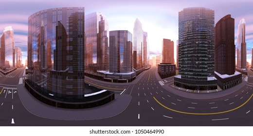 hdri, panorama 360, equidistant projection. Spherical panorama. Panorama of the city. Environment map. 3D rendering
