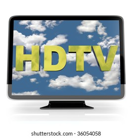 An HDTV flatscreen television on white background