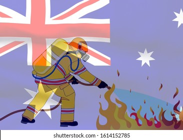 he concept of a photograph depicting a firefighter extinguishing a fire while in the background is Australian flag