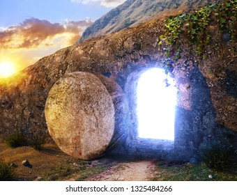 He is Risen. Crucifixion at Sunrise. Light From Within The Tomb Of Jesus. Outside view on Tomb. 3D illustration