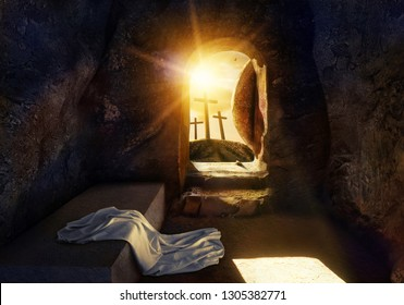 He is Risen. Empty Tomb With Shroud. Crucifixion at Sunrise. 3D rendering illustration