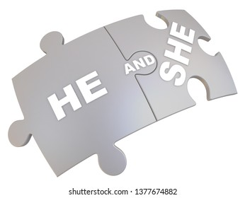 He and she text on jigsaw puzzle piece. Two jigsaw puzzle pieces together labeled HE AND SHE. Isolated. 3D Illustration