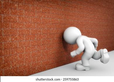 Head against the wall