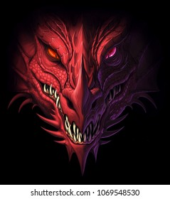 Head of angry red dragon on the black background. Digital painting.