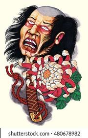 Head of a beheaded Samurai on a katana sword with a flower- tattoo motif