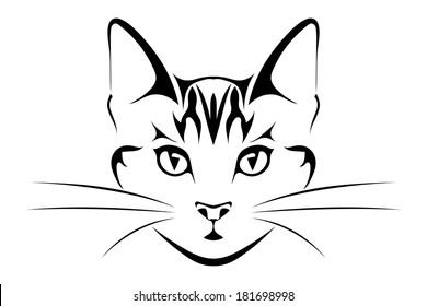 Head Is Black Cat Tattoo Vector