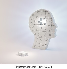 A head build out of puzzle pieces