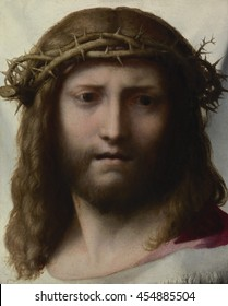 Head of Christ, by Correggio, c.1525-30, Italian Renaissance painting, oil on panel. This idealized head of Christ, is a painting of 'Veronica's veil'. According to legend, during the Passion of Chri