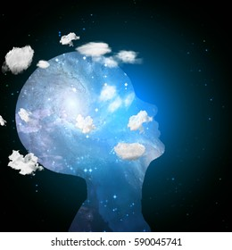 Head in clouds contains space   3D Render  Some elements provided courtesy of NASA