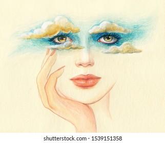 Kopf in die Wolken. Träume.schöne Frau. Aquarellbild