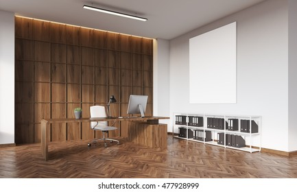 Head of company's office with wooden table and wall, armchair, laptop and vertical poster. Concept of big corporation. 3d rendering. Mockup