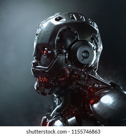 Head of cyborg with red luminous eyes. Science fiction helmet with a shiny dark metal. Robot with artificial intelligence. Robot man with artificial face. Futuristic soldier concept. 3D rendering.