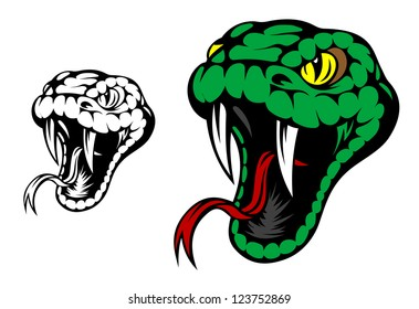 Head of danger aggressive snake for mascot design. Vector version also available in gallery