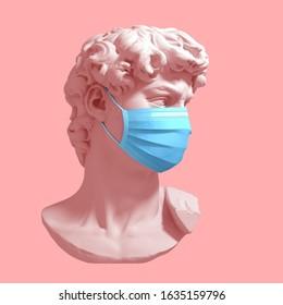 Head Of David In Medical Mask. Novel Coronavirus (2019-nCoV). Concept Of Coronavirus Quarantine. 3D Illustration.