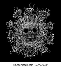 The head of the dead king octopus. skull eyes hands with knives pirate flag . Gothic mystical illustration print on a t-shirt.