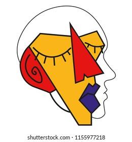 head deconstruction illustration