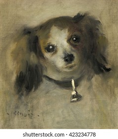 Head of a Dog, by Auguste Renoir, 1870, French impressionist painting, oil on canvas