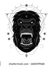 head evil ferocious gorilla shouts, mascot. KING KONG ILLUSTRATION
