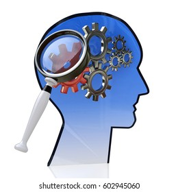 Head with gears inside as a symbol work of brain and magnifying glass in the design of the information related to the ideas and technologies. 3d illustration