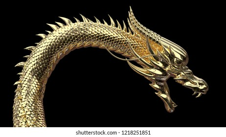 The head of gold chinese dragon with 3d rendering.