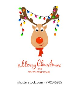 Head of Happy reindeer with red nose and Christmas lights on antlers. Christmas character, isolated on white background, illustration.