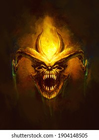 head of a horned monster, bared teeth, flames - a painting