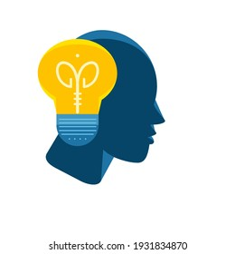 The head of a human being is thinking. An idea came to his mind and the light of his mind was on