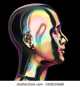 Head iron man silhouette stylized metallic colorful reflections. Human profile portrait sci-fi robot creativity concept. 3d rendering, isolated on black