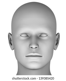 Man´s head isolated on white background HiRes ray-traced (MF6)