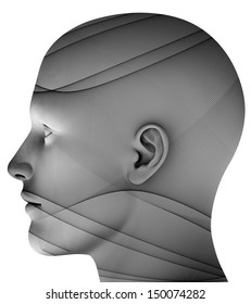 Man´s head isolated on white background