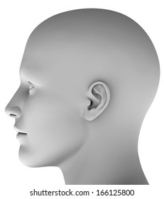 Man´s head isolated on white background hires ray traced