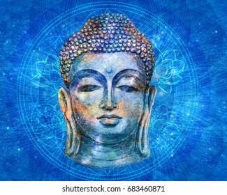 head of Lord Buddha digital art collage combined with watercolor.