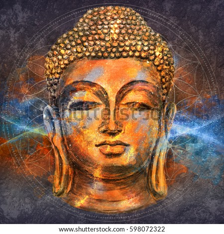 head lord buddha digital art collageのイラスト素材 598072322