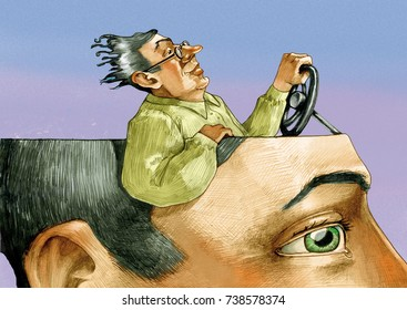 in the head of a man in the foreground there is a man riding relaxed and confident of himself
