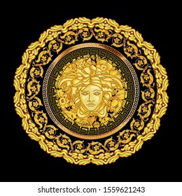 Head of Medusa. Medusa head with gold baroque ceramics in vintage style. Pattern for textile, design and backgrounds