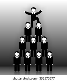 Head on top of office workers. Creative illustration. Commercial success. Pyramid scheme office staff. Man at the top put his foot on head of lower man and celebrating career success.