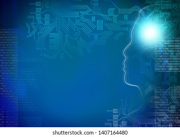 head outline with circuit board and number binary digit on dark blue background, Artificial intelligence or ai concept