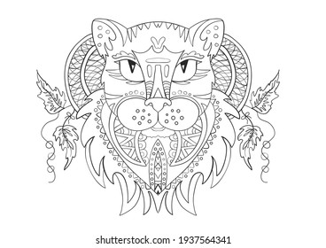 The head of a panther cat. Zentangle. Coloring page illustration