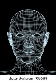 Head of the person from a blue 3d grid