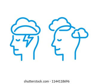 Head profile with storm cloud and clear sky. Mindfulness and stress management in psychology, logo illustration. Simple and modern line icon.