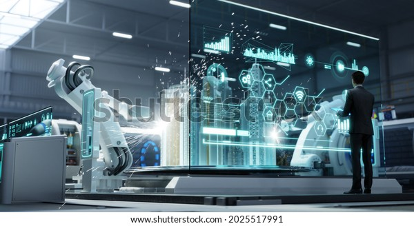 Head of the project manager monitoring and control automation robot arms machine with virtual interface. Concept of industry 4.0 technology and smart futuristic factory. 3d rendering