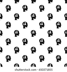 Head with queen and pawn chess pattern seamless in simple style  illustration