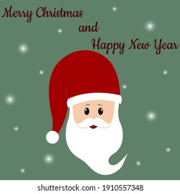 Head of Santa Claus. Congratulatory postcard. Merry Christmas, Merry New Year. Santa Claus with a gift. illustration