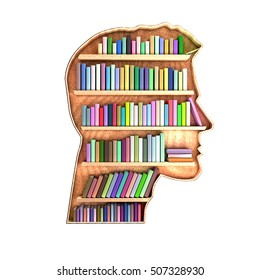 Head shaped library containing books on shelves. Brain concept. Information is stored and organized. 3D Rendering