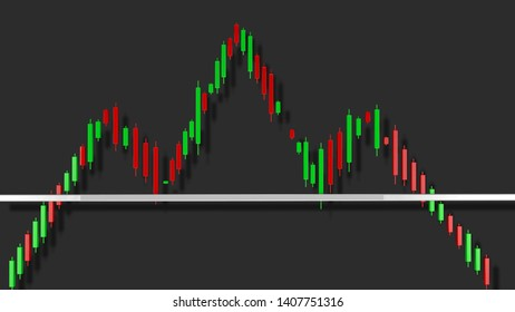 Head and Shoulders Stock Chart Pattern 3D Illustration