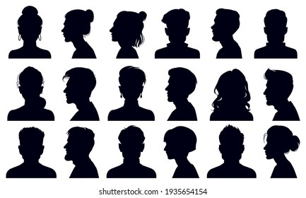 Head silhouettes. Female and male faces portraits, anonymous person head silhouette  illustration set. People profile and full face portraits