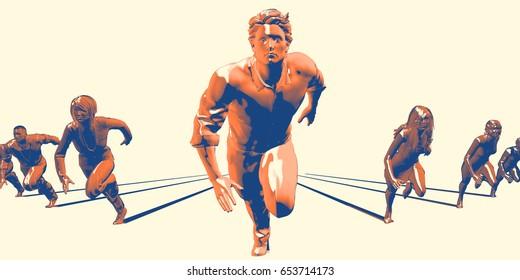 Head Start in Business as an Advantage in Race 3D Illustration Render