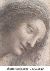 HEAD OF THE VIRGIN, by Leonardo da Vinci, 1510_13, Italian Renaissance chalk and charcoal drawing. This drawing employs Leonardo\x90s sfumato technique, creating a soft image without lines or borders