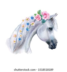 Head of a white horse with pink flowers  isolated on white background. cute watercolor clipart. Trendy cartoon horse. Template. Close-up. Clip art. Hand drawn. Template. Hand painted