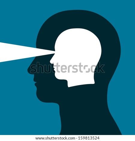 Head within a head emitting a beam of light depicting eyesight, vision, mental acuity and intelligence in a conceptual vector illustration